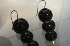 Ohrhänger, schwarzes Glas und Silber
